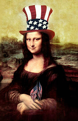 Patriotic Mona Lisa Art Print