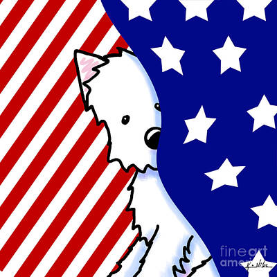 Westie Digital Art - Patriotic Peekaboo Westie by Kim Niles
