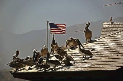 Santa Barbara Painting - Patriotic Pelicans  by Barbara Snyder