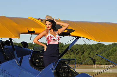 Photograph - Patriotic Pin-up Girl Standing by Christian Kieffer