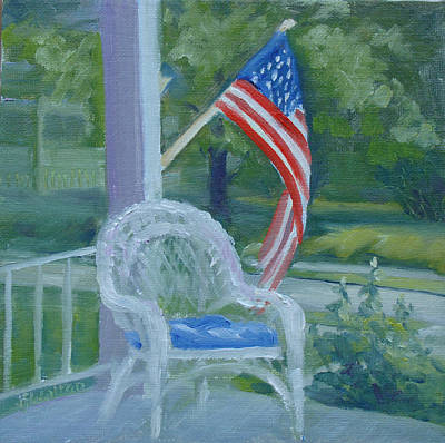 Painting - Patriotic Porch by Judy Fischer Walton