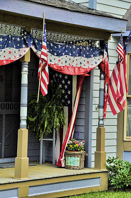 Photograph - Patriotic Porch by Ken Smith