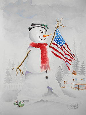 Patriotic Snowman Art Print by Jimmy Smith