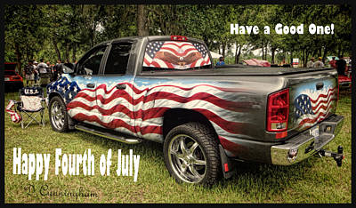 Patriotic Truck Art Print by Dorothy Cunningham