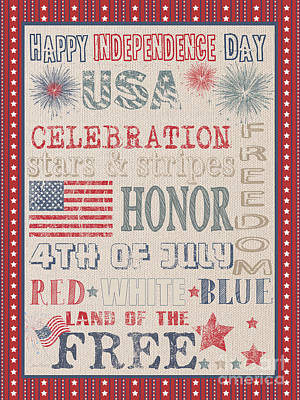 Patriotic Typography-b Art Print by Jean Plout
