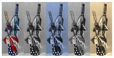 Drawing - Patriotic Umbrellas 5 by Rob Hans
