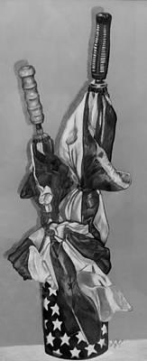Drawing - Patriotic Umbrellas Black And White by Rob Hans