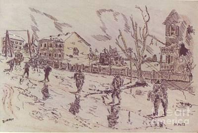 Ww Ii Drawing - Patrol In Metz by David Neace