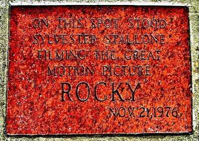 Rocky Balboa Photograph - Pats Steaks - Rocky Plaque by Benjamin Yeager