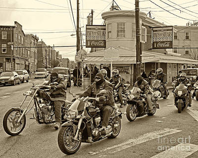 Pat's With Cycles Art Print by Jack Paolini