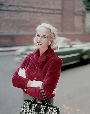 Patsy Bartlett Wearing A Red Jacket Art Print by Sante Forlano