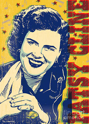 Crazy Digital Art - Patsy Cline Pop Art by Jim Zahniser