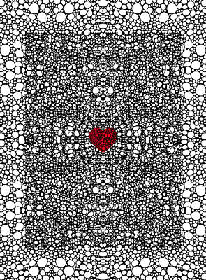 Pattern 19 - Heart Art - Black And White Exquisite Pattern By Sharon Cummings Art Print by Sharon Cummings