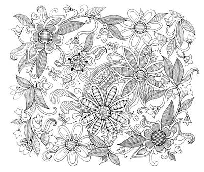 Fun Flowers Drawing - Pattern 3 by Neeti Goswami