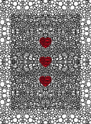Pattern 34 - Heart Art - Black And White Exquisite Patterns By Sharon Cummings Print by Sharon Cummings