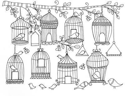 Pattern Birdcages Art Print