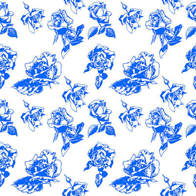 Digital Art - Pattern Blue Rose On A White Background by Hanna Furs