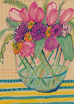 Still Life Drawings - Pattern Flower Still life by Rosalina Bojadschijew