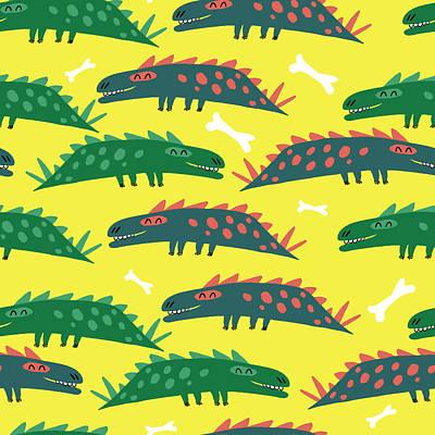 Digital Art - Pattern With Dinosaurs by Ekaterina Ladatko