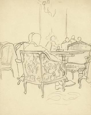 Food Digital Art - Patterned Chairs At A Restaurant by Carl Oscar August Erickson