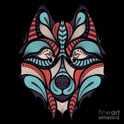 Digital Art - Patterned Colored Head Of The Wolf by Sunny Whale