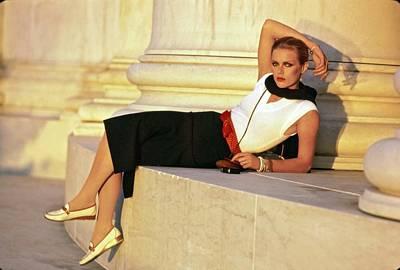 Photograph - Patti Hansen Lying By Jefferson Memorial by Arthur Elgort