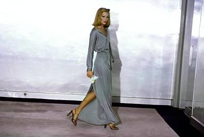 Silver Photograph - Patti Hansen Wearing A Gray Dress by Arthur Elgort