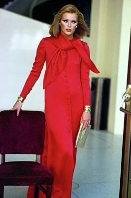 Photograph - Patti Hansen Wearing A Red Dress by Arthur Elgort