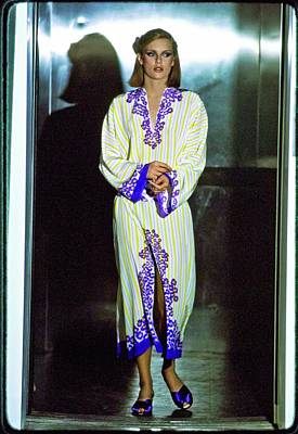 Silver Photograph - Patti Hansen Wearing A Silk Caftan by Arthur Elgort