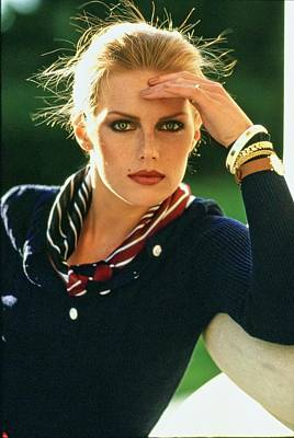 Photograph - Patti Hansen Wearing A Striped Scarf by Arthur Elgort
