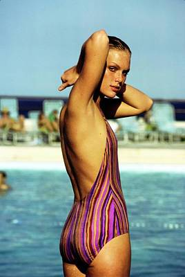 Photograph - Patti Hansen Wearing A Striped Swimsuit by Arthur Elgort