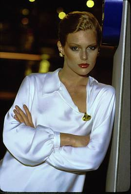 Photograph - Patti Hansen Wearing A White Top by Arthur Elgort