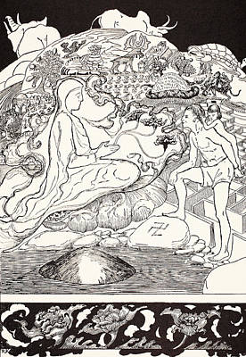 Ink Drawing Drawing - Pau Amma The Crab Running Away While The Eldest Magician Was Talking To The Man And His Little Girl  by Joseph Rudyard Kipling