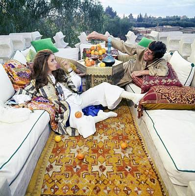 Healthy Food Photograph - Paul And Talitha Getty On Roof Terrace by Patrick Lichfield