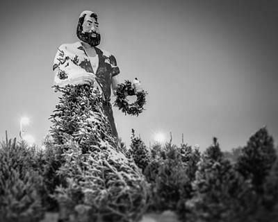Photograph - Paul Bunyan Over Winter Pines - Bw by Chris Bordeleau