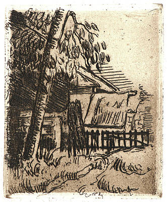 Brown Tones Drawing - Paul Cézanne French, 1839 - 1906. Landscape In Auvers by Litz Collection