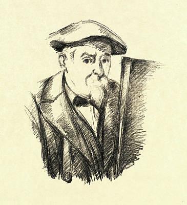 Self-portrait Drawing - Paul Cézanne, French 1839-1906, Self-portrait by Litz Collection