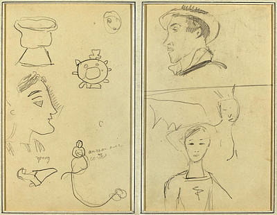 Paul Gauguin Drawing - Paul Gauguin French, 1848 - 1903, A Caricature And Five by Quint Lox
