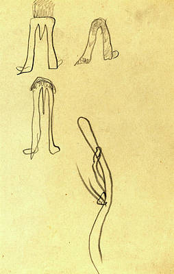 Paul Gauguin Drawing - Paul Gauguin, French 1848-1903, Four Fantastic Forms Recto by Litz Collection