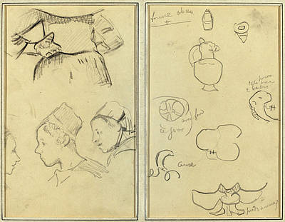 Paul Gauguin Drawing - Paul Gauguin French, 1848 - 1903, Four Studies Of Breton by Quint Lox