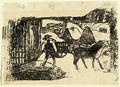 Paul Gauguin French, 1848 - 1903, The Ox Cart Le Char Art Print by Quint Lox