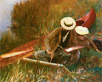 Paul Helleu Sketching With His Wife Art Print by John Singer Sargent