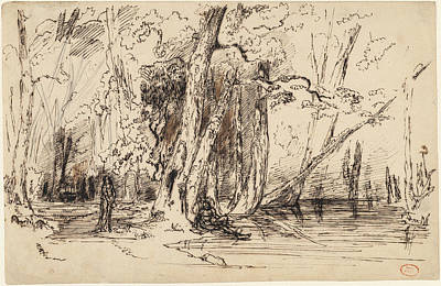 Flooding Drawing - Paul Huet, Flooding In The Forest Of The Ile Séguin by Quint Lox