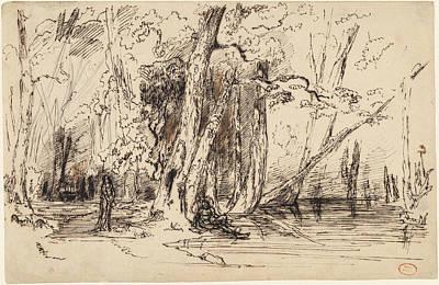 Paul Huet, Flooding In The Forest Of The Ile Séguin Art Print