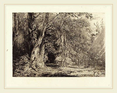 Flooding Drawing - Paul Huet French, 1803-1869, Flooding In The Forest by Litz Collection