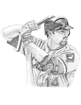Chicago Baseball Drawing - Paul Konerko by Joe Rozek