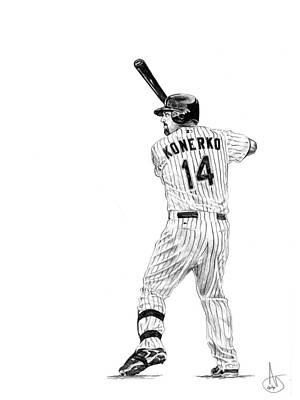 Chicago Baseball Drawing - Paul Konerko by Joshua Sooter