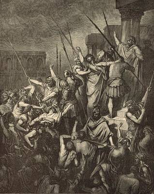 Paul Menaced By The Jews Art Print by Antique Engravings