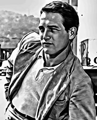 Painting - Paul Newman Portrait by Florian Rodarte