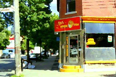 Cafe Painting - Paul Patate Pte St Charles Deli Corner Charlevoix And Coleraine Street Scene Carole Spandau  by Carole Spandau